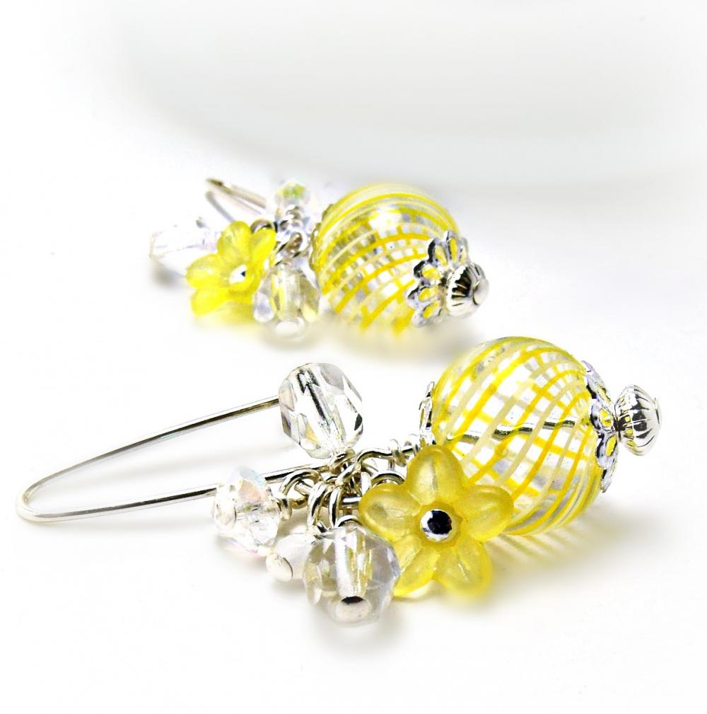 Yellow Blown Glass Hollow Earrings- Yellow Jewelry-Summer Jewelry-Summer Earings-Sunshine Yellow-Flower Jewelry-Flower Earrings