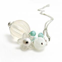 White Lucite Pendant w/ Amazonite- White Jewelry-Wedding- Milk glass- Shabby chic- Amazonite jewelry-Milk Glass Jewelry