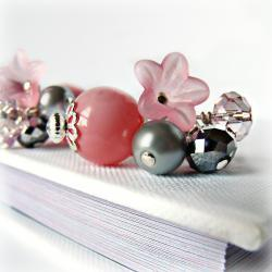 Pink Hand Blown Hollow Glass Earrings- Blush Earrings - Pink Jewelry- Pink a Grey- Pearl Jewelry- Czech Crystal- Flower Jewelry