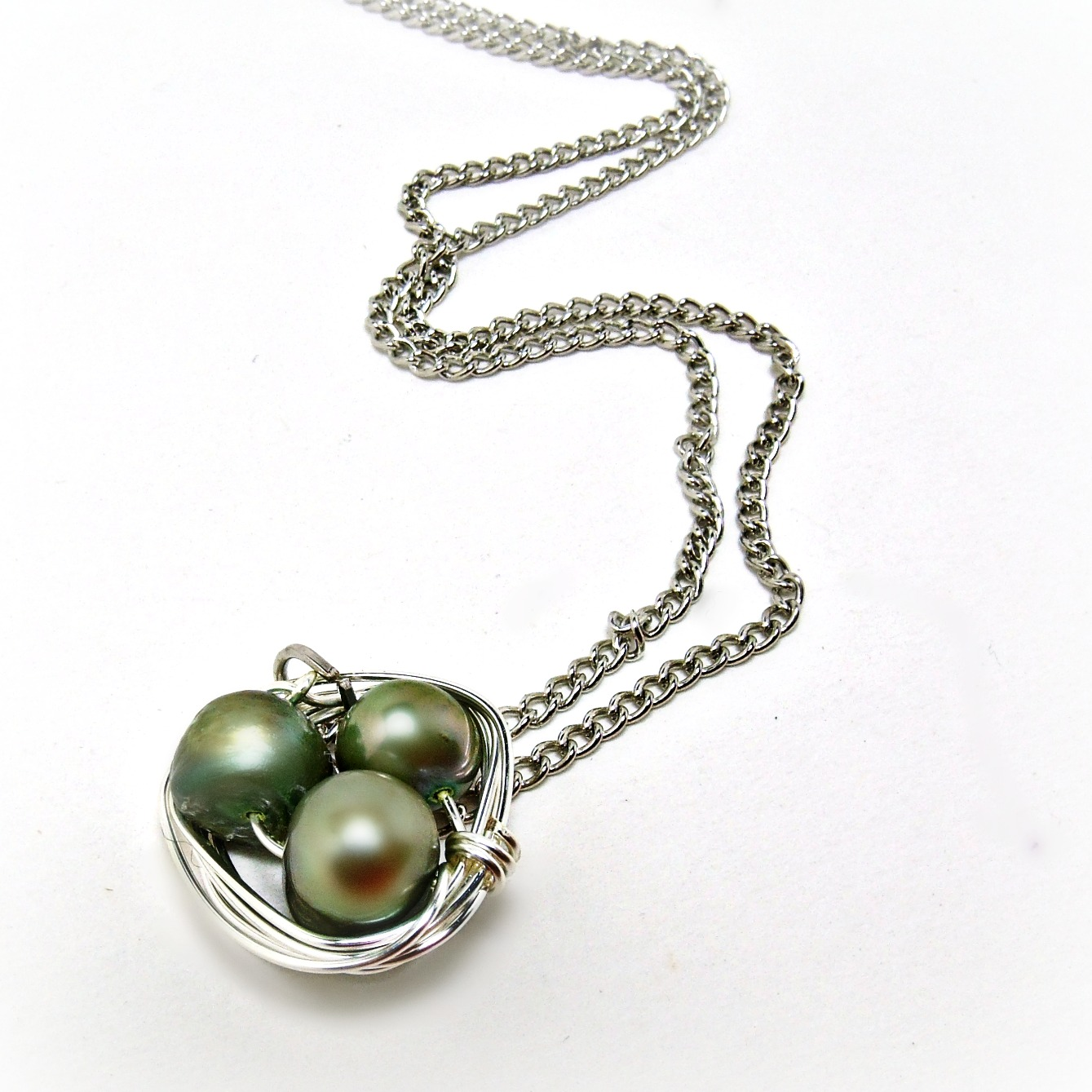 Wrapped Necklacepearl Necklacepearl Jewelry Forest Green Necklacepearl  Jewelry18 Inch Necklace Womens Gift Bridesmaid Giftgraduation Gift