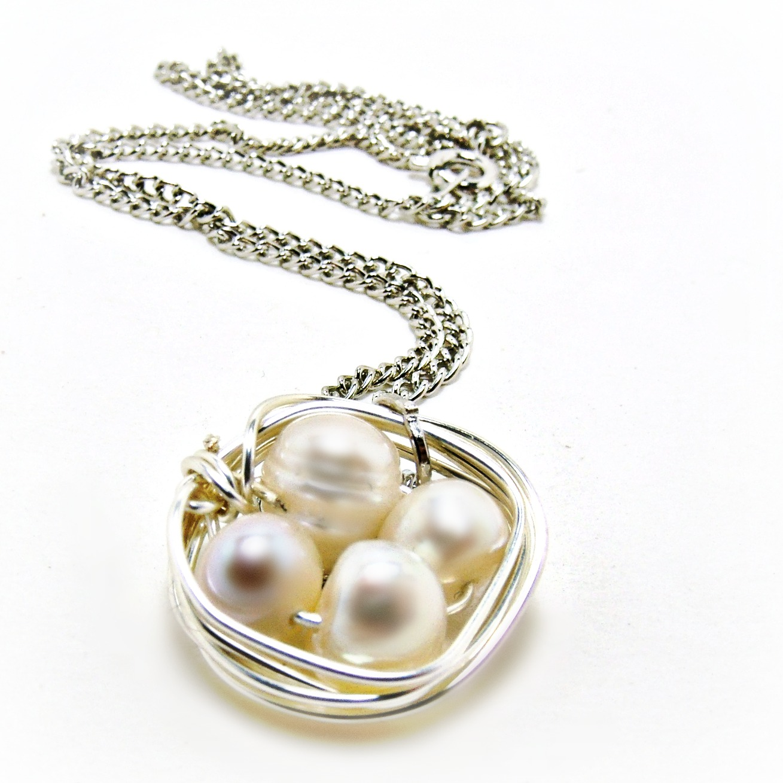Bird Nest Neacklace- Freshwater Pearl Necklace- Bird Nest Jewelry ...